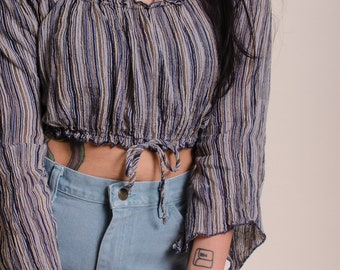 90s Striped Peasant Off the Shoulder Bell Sleeve Crop Top
