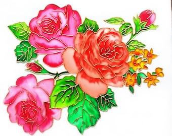 English Roses Glass Painting, glass art, vitrage painting, vitrail, painted glass, stained glass, flower painting, floral, rose, floral