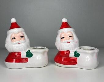 set of 2 vintage ceramic Santa candlestick holders