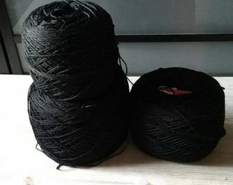 Cotton sport yarn - 710 g (1,565 lb) - 2840 m (3105,9 yd) -  cotton yarn cake - mercerized cotton yarn - black yarn - 100% cotton yarn