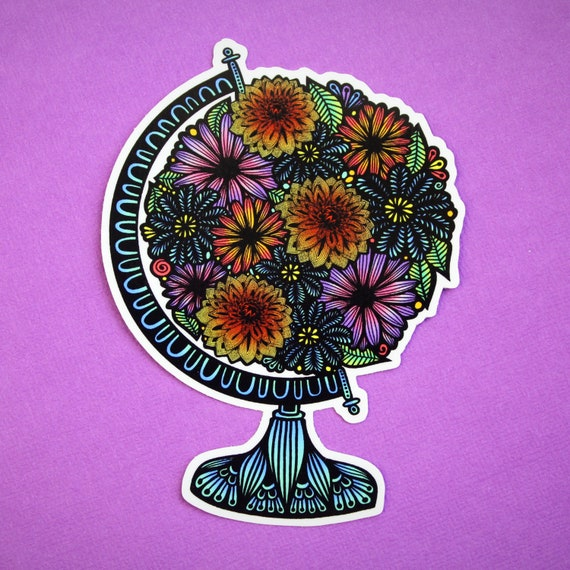 Floral Globe Sticker
