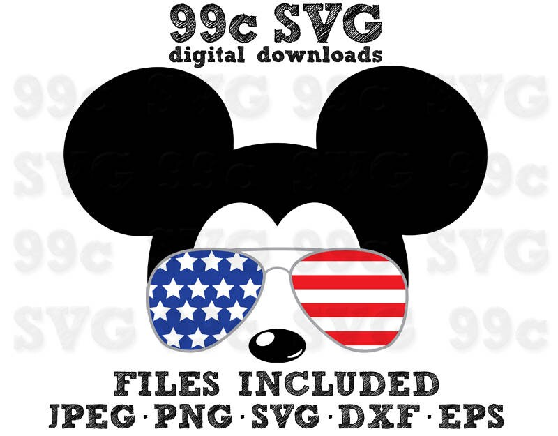 Mickey Usa Flag Sunglasses Svg Dxf Png Vector File Cricut – Fondos