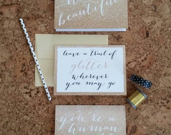 Glitter and gold blank greetings
