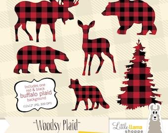 Buffalo Plaid Clipart, Animal Silhouette Clipart, Lumberjack Christmas, Moose Deer Silhouette, Lumberjack Clip art, Fox