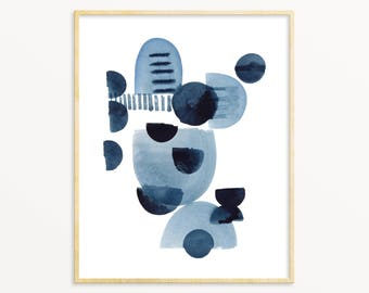 Abstract Indigo Blue Watercolor Art Print. Mid Century Style Decor. Gift For Him. Anstract Painting. Contemporary Modern Abstract Wall Art.