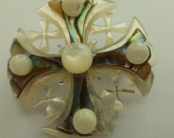Vintage Carved  Abalone and Mother of Pearl Cross Brooch Bethlehem Pearl Pin