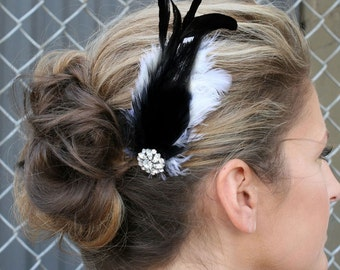 Rhinestone Barrette Bridal - Feathers with Swarovski Crystal Accent