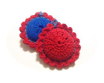 Red And Blue Pot Scrubbers- Pair