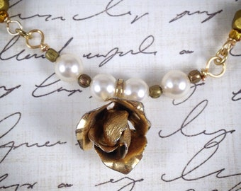 """Thrifted Jewelry; Assemblage Jewelry; Vintage Earring; """"Gilded Rose"""""""