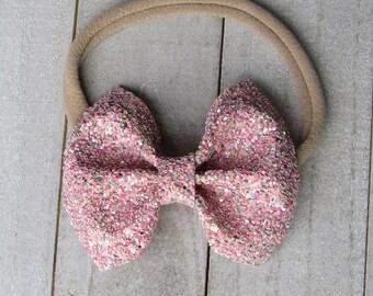 Ballet slipper glitter bow