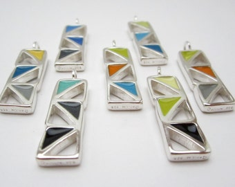 Custom Geometry Necklace - Sterling Silver and Vitreous Enamel Openwork Pendant - Wear 2 Ways - Pick Your Colors