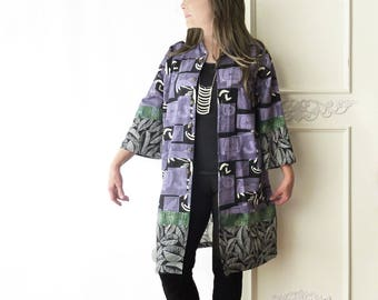 Oversize Hawaiian top, Kimono, purple, Upcycled clothing, artsy, beach coverup, black, boho, refashioned, Asian print, Plus size, abstract