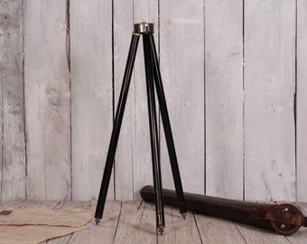 Tripod - Photography tripod - Telescopic tripod - Photo equipment - Vintage camera tripod - Metal and brass tripod Tripod with leather case