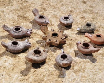 Roman Oil Lamps,  Clay Oil Lamps, 10 Lamps, Hand made, Pottery, Beach house decor, Rustic house decor, Rustic home decor, Farmhouse decor,