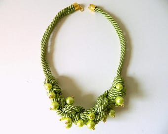 Macrame Necklace Rope Necklace with Pearl Rope Statement necklace Chunky necklace Acid Green Knot Necklace Pearl Bib necklace Gift for her