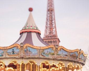 Paris Photography - Evening Magic in Paris, French Travel Fine Art Photograph, Nursery Decor, Home Decor, Large Wall Art