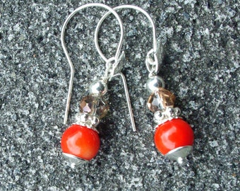 Silver earrings with a coral bead of 8 mm and Swarovski Crystal 6 mm