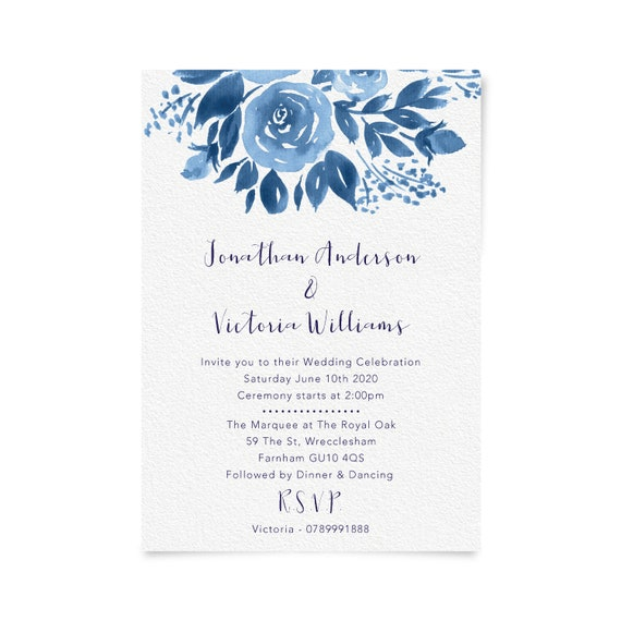 Navy Wedding Invitation Wedding Invitations Printable Wedding Invitation Blue Wedding Invitation Template Floral Watercolor Invite A5 or A6