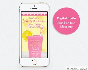 Text message invite etsy text message invitation pink lemonade party birthday invitation digital invite email invitation stopboris Images