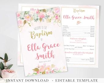 LDS Baptism Program Girl Baptism Editable PDF Girl baptism program Template baptism floral watercolor Pink Gold Baptism Program Printable
