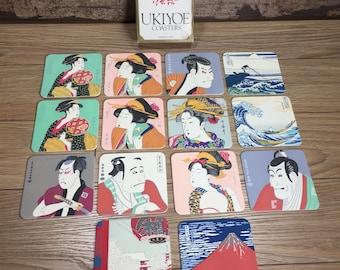 Ukiyoe Coasters-Japanese Fine Art-Lot of 14- used- Beer/Drink coasters
