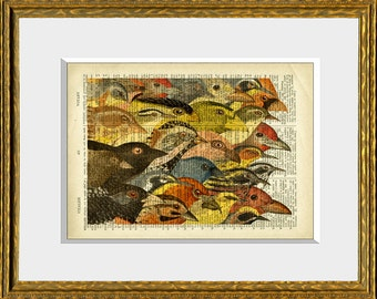 Dictionary Page Print - VINTAGE MIGRATION - an upcycled antique dictionary page with an original vintage bird collage - home decor