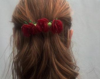 Beaded Rose Hairclip