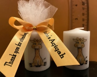 Baby Shower Favors, Candle Favors, Giraffe theme, Anniversary Favors, Baptism , Holy Communition Favors, Votive With Personalized Ribbon