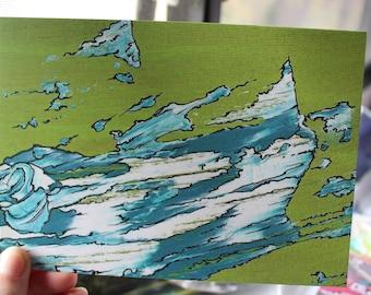 5x7 Green Wave Print
