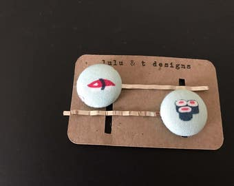 Sushi, sushi bobby pin, Sushi  fabric covered button bobby pin pair