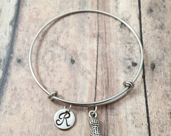 Peanut initial bangle - peanut jewelry, snack food jewelry, silver peanut pendant, goober jewelry, peanut bracelet, food bracelet