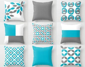 Throw Pillow Covers Scuba Blue White Grey Contemporary Decor Throw Pillow Cover Decorative pillow covers accent pillow covers