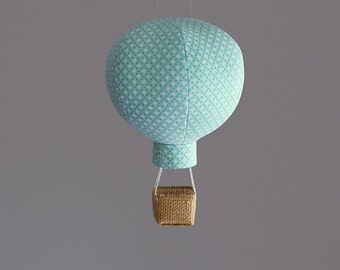 Hot Air Balloon Decoration in Aqua Dim Dots - Nursery Decor, Baby Gifts & Travel Themed Decorations
