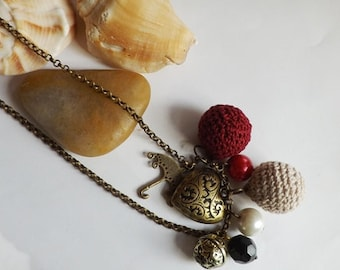 Long Charm Necklace, Antique Brass Necklace, Rope Necklace, Heart, Umbrella, Cute, Knitted Bead