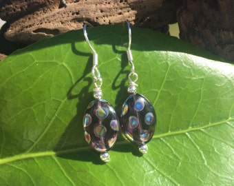 Sterling Silver – Brown Glass with Peacock Polka Dots