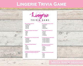 Lingerie Trivia Game - Bachelorette Party Game - Bridal Shower Game - Lingerie Party - Hen Night - Printable - Instant Download