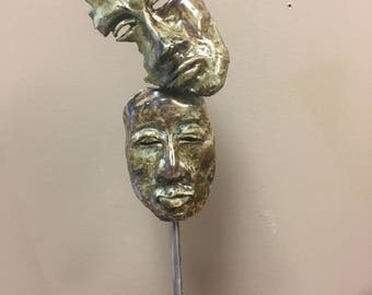"Clay Raku Sculpture ""Helpless Protector"""