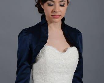 Navy Blue 3/4 sleeve satin bolero wedding bolero jacket shrug