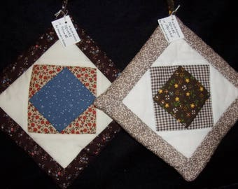 PATCHWORK (18) Potholder Square in Square Traditional Quilt Pattern, Prim, Primative, Country, Cabin, Ranch, FarmHouse, Rural,  USA, Loft