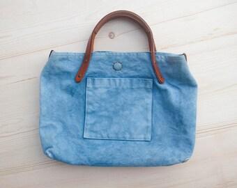 Indigo Canvas handbag, Simple bag, Canvas handbag, Indigo canvas and leather bag, Fabric handbag, Simple bag women, Small everyday handbag