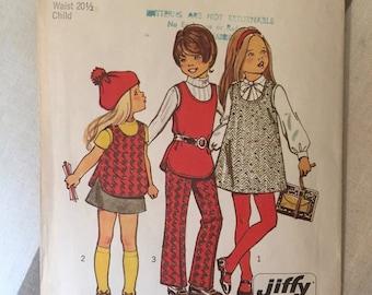 "Vintage 1970s Simplicity Girl's Jumper, Skirt & Pants Pattern 5165 Size 3, Bust 22"" - NC  - Vintage Simplicity / 70s Girl's / 70s Pattern"