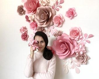 Wedding Paper Flowers - Paper Flowers Wall - Paper Flower Set - Paper Flower Backdrop - Paper Flower Reception (code:#130)