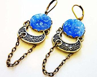 Vintage Japanese Glass Cabochons, Vintage Brass, Cobalt Blue, Cherry Brand, Hanging Garden Earrings LAST PAIR SALE