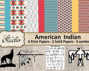 Western printable paper, American Indian Paper, Digital Paper, digital collage, Scrapbook clip-art, Tribal symbol, colorful background paper