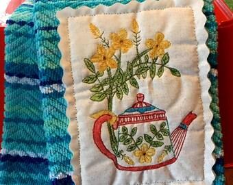 Charming Kitchen Towel Mini Quilt Patch Teapot & Flowers