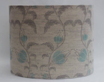 Handmade blue teal and grey fuchsia/flower on natural linen/cotton fabric drum lampshade