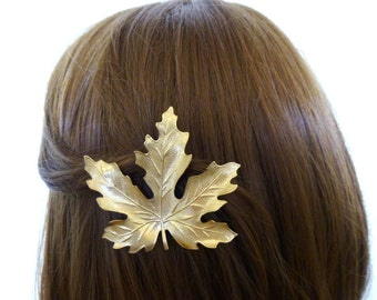 Maple Leaf Hair Clip Gold Barrette Bride Bridal Bridesmaids Botanical Autumn Fall Rustic Woodland Wedding Accessories Womens Gift For Her