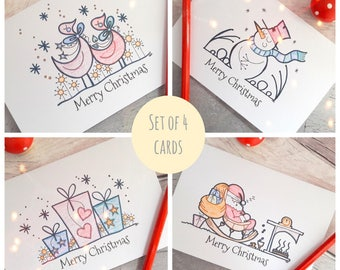 Xmas greetings set, holiday card set, Christmas card multi pack, Snowman, Father Christmas, ducks, presents, cards for family, friends cards