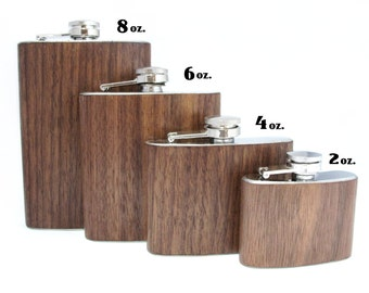 8oz Black Walnut Wood Flask