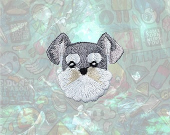 Schnauzer Cute Dog Patch Cartoon Patch Iron on Patch Sew On Patches
